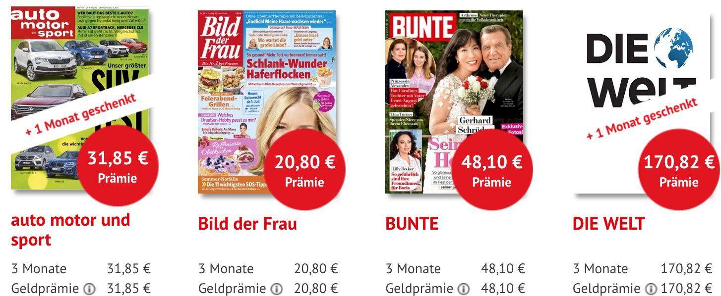Zeitschriften Abos mit vollwertigen Scheckprämien   z.B. 3 Monate Die Welt für 170,82€ + 170,82€ Scheck