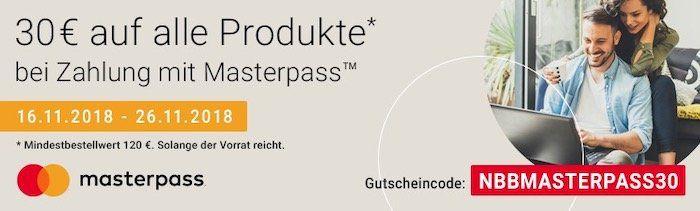 30€ Rabatt bei Zahlung per Masterpass auf alle Produkte bei Notebooksbilliger   z.B. Crucial MX500 1TB M.2 für 119,90€ (statt 140€)