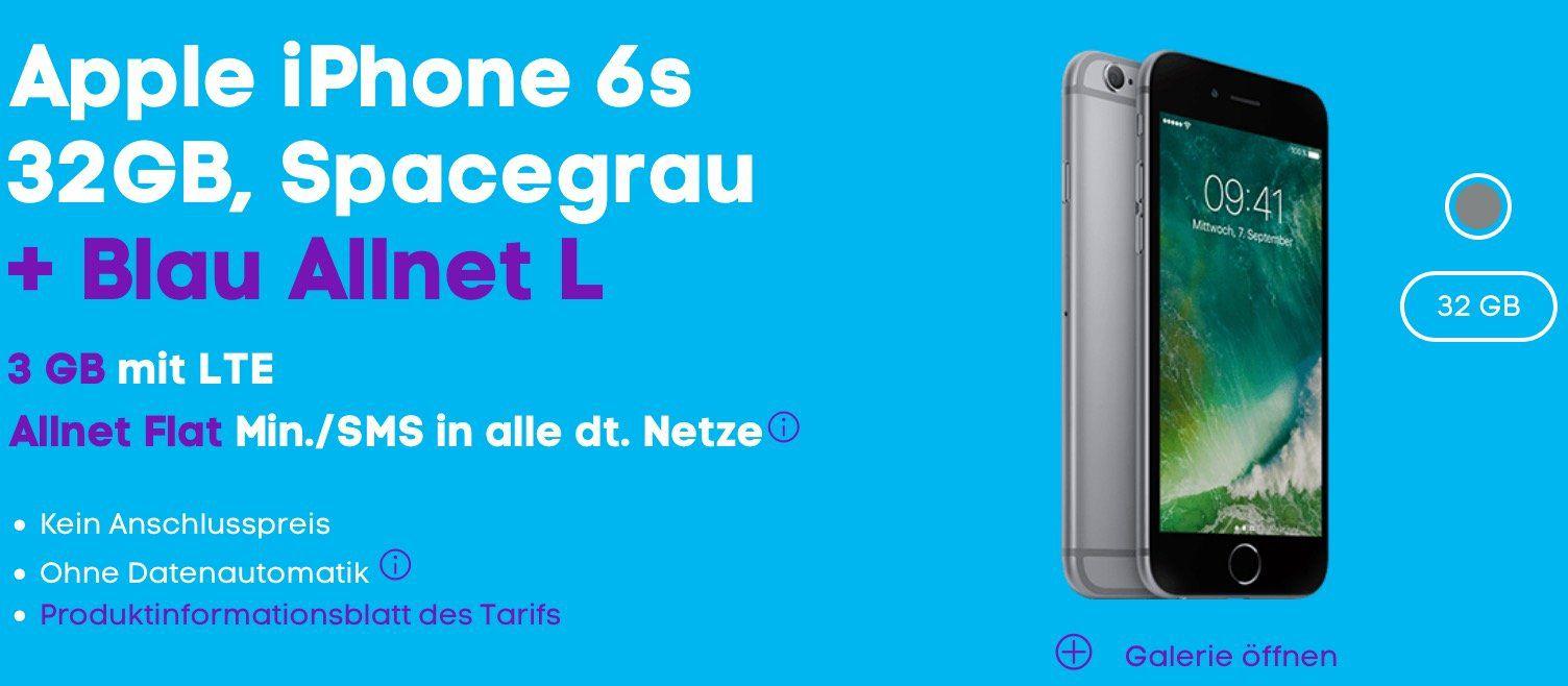 iPhone 6s 32GB für 1€ + Blau Allnet XL +  3GB LTE für 18,99€ mtl.