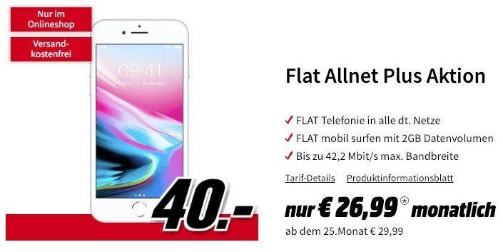 iPhone 8 (64 GB) für 40€ + Vodafone Allnet Flat mit 2GB für 26,99€ mtl.