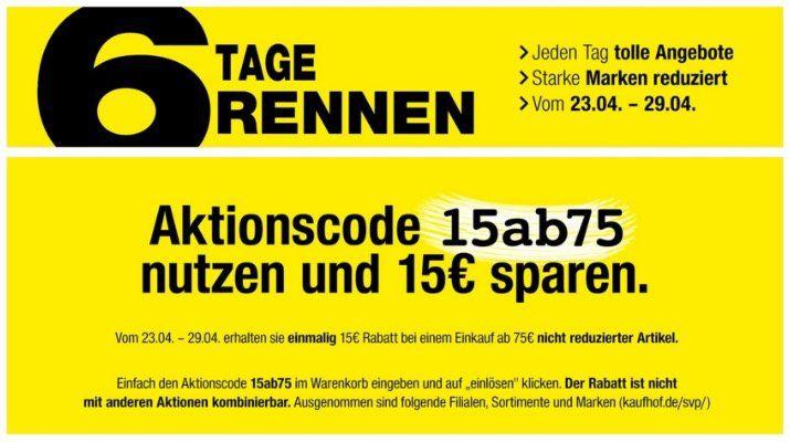 Galeria Kaufhof 6 Tage Rennen 15€ sparen z.B. Lego Nasa Apollo Saturn V  für 104,99€ (statt 118€)