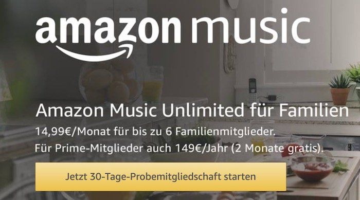 Amazon Music Unlimited Family (bis zu 6 Geräte) 2 Monate gratis für Bestandskunden