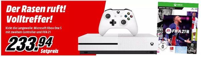 Xbox One S 1TB + 2. Controller + Fifa 21 für 223,94€ (statt 349€)
