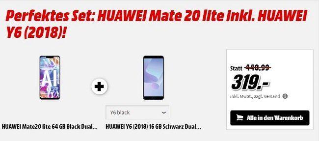 Huawei Mate 20 lite + HUAWEI Y6 (2018) für 319€ (statt 409€)