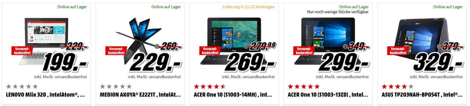 Media Markt Tiefpreisspätschicht: günstige Notebooks und Convertibles