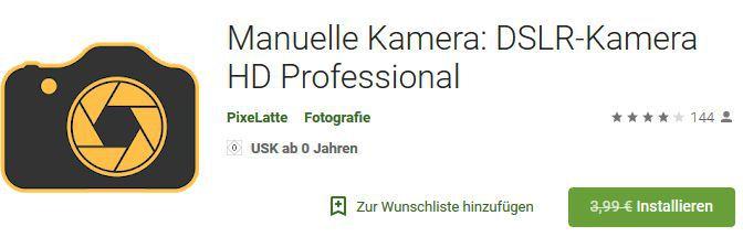 Manuelle Kamera: DSLR Kamera HD Professional (Android) gratis statt 3,99€