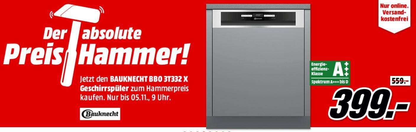 Bauknecht BBO 3T332 X   teilintegrierbarer Geschirrspüler für 399€(statt 588€)