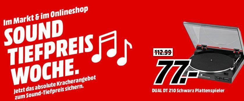 MM Sound Tiefpreiswoche: heute z.B. DUAL DT 210 Plattenspieler für 77€ (statt 105€)