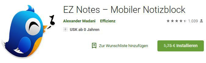 EZ Notes (Android) gratis statt 1,75€