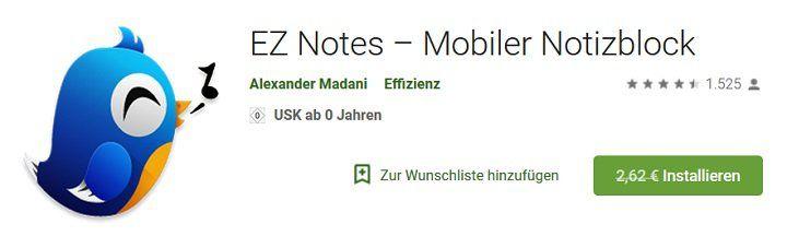 EZ Notes – Mobiler Notizblock (Android) gratis (statt 2,62€)
