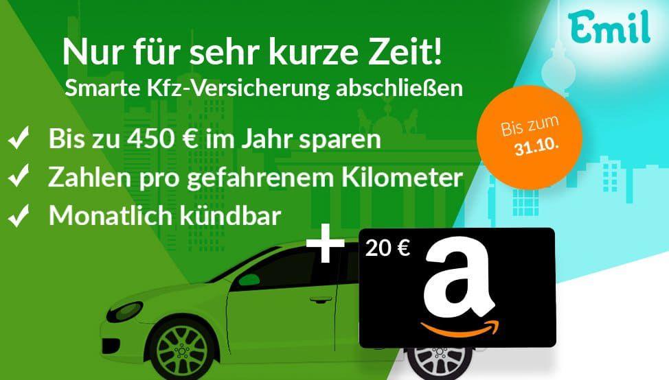 EMIL Kfz Versicherung (monatlich kündbar!) für Wenig Fahrer inkl. 20€ Amazon Gutschein   Zahlung pro gefahrenem Kilometer!