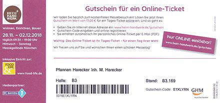 Kostenlos:  Eintrittskarten für die Heim & Handwerk in München