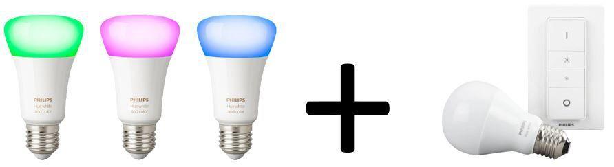 Vorbei! PHILIPS Hue White & Color Ambiance 3 LED E 27 + Dimmer + mono. LED  E27 für 89€ (statt 102€)