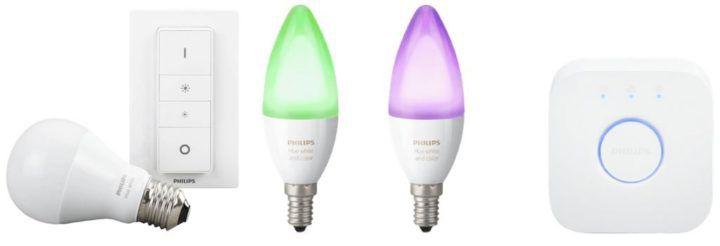 Philips Hue   2 x E14 LED Leuchten im Starter Kit inkl. hue Bridge + Dimmer + mono. LED  E27 für 99€ (statt 116€)