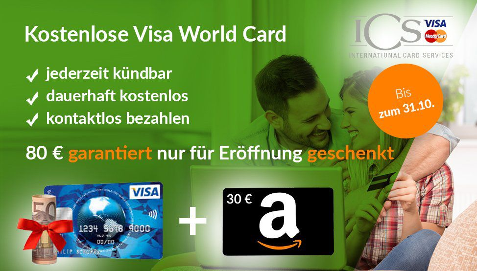 Dauerhaft kostenlose Visa World Card + 80€ Prämie