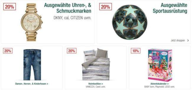 Galeria Kaufhof Sonntagsangebote   20% Rabatt auf Schmuck & Uhren, ausgewählte Sportmarken  u. Ausrüstung u.v.a.m. ♥