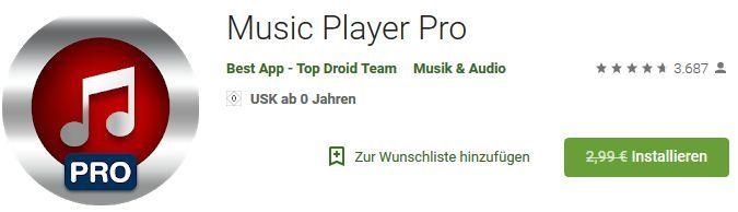 Music Player Pro (Android) gratis statt 2,99€