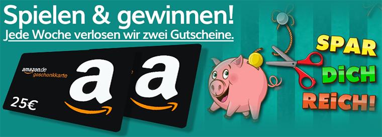 Wochengewinnspiel: Spiel das Game Spar dich reich und gewinne einen Amazon Gutschein