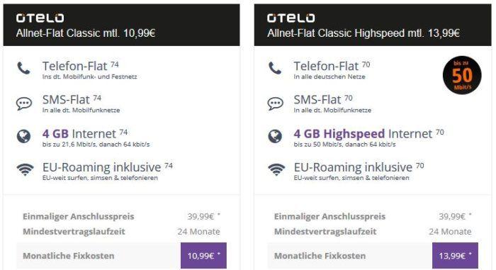 Vodafone Allnet Flat von otelo mit 4GB für 10,99€mtl.   mit Highspeed nur 13,99€ mtl.