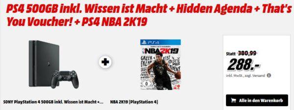 PS4 Slim + NBA 2K19 +3 Games für 288€ (statt 365€) uvm. im Media Markt Dienstag Sale