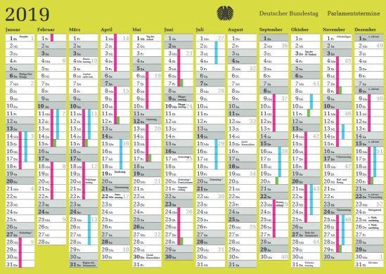 Parlamentsterminkalender 2019 (DIN A6) kostenlos anfordern