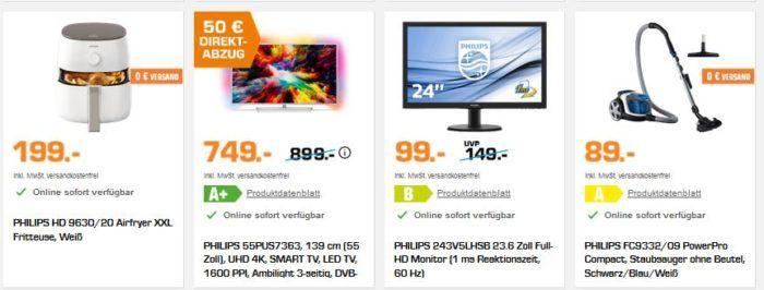 Saturn Markenwoche: heute viele günstige PHILIPS Artikel   z.B. Philips 49PUS7272   49″ UHD TV für 599€