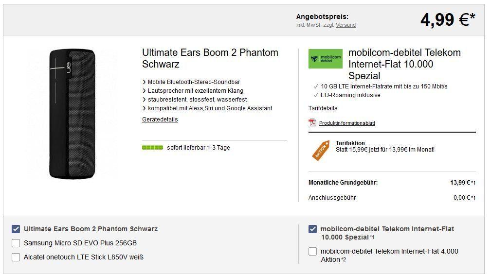 Telekom Datentarif mit 10GB LTE für 13,99€ mtl. + Ultimate Ears Boom 2 Phantom Lautsprecher für 4,99€ (statt 90€)