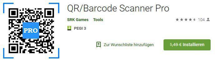 QR/Barcode Scanner Pro (Android) gratis statt 1,49