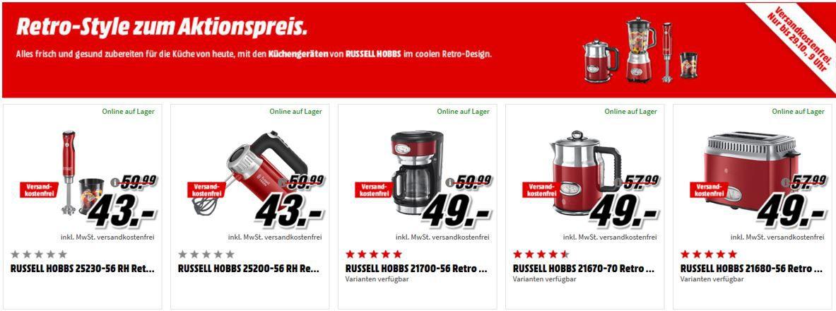 Russell Hobbs Küchengeräte Sale im Retro Style: z.B. Retro Ribbon Standmixer für 65€ (statt 80€)