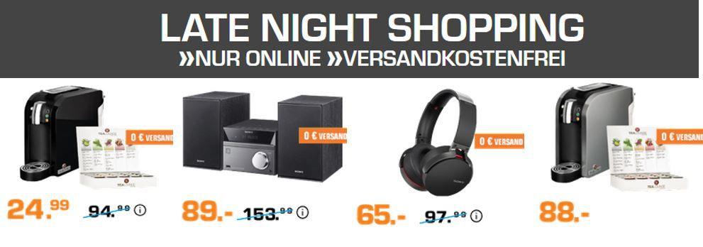 Saturn Late Night Shopping: günstiges um Tee & Tealounge Maschinen und SONY Audio Technik, micro Anlagen, Kopfhörer und mehr