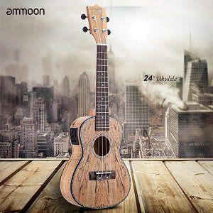 Ammoon QO 006 24 Ukulele aus seltenem Totholz mit LED Display für 56,69€ (statt 81€)