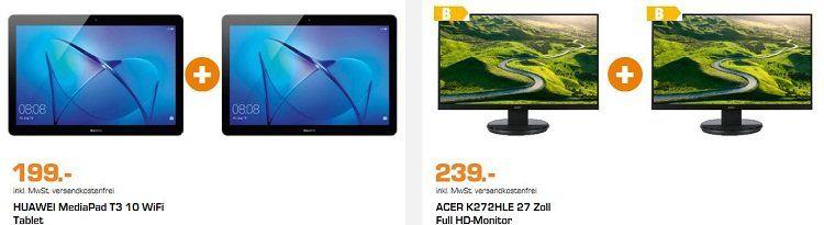 Saturn: verschiedene Top Bundles zum Aktionspreis   z.B. 2 x HUAWEI MediaPad T3 10 WiFi Tablet für 199€ (statt 263€)