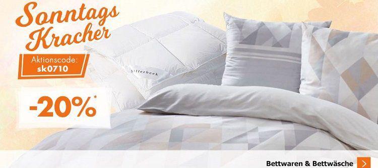 Karstadt Sonntags Kracher mit 20% auf Bettwaren und Bettwäsche