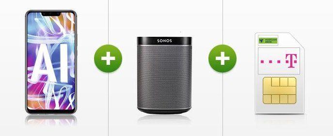Huawei Mate 20 lite + Sonos Play: 1 für 45€ + Telekom Allnet Flatrate mit 8 GB für 31,99€ mtl.