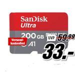 Bis 20 Uhr! Media Markt Speicher Tiefpreis Woche: z.B. SanDisk Ultra 200GB microSDXC Speicherkarte für 33€