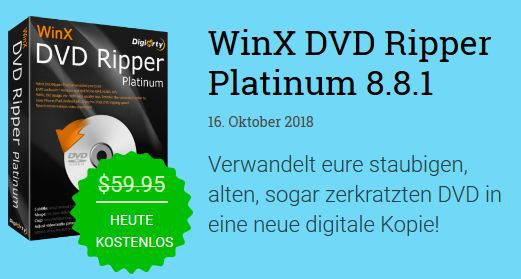 WinX DVD Ripper Platinum 8.8.1 (Lifetime Lizenz, Windows) kostenlos