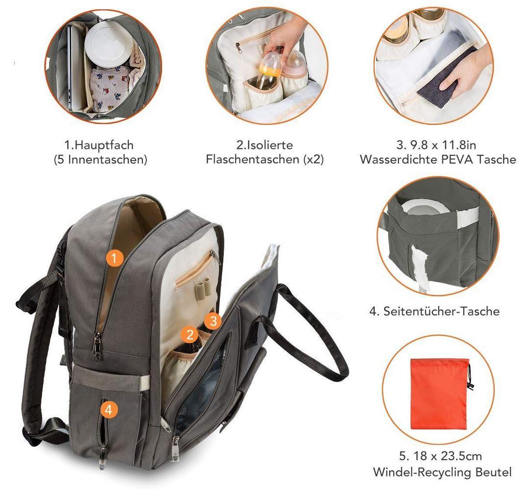 OMORC Baby Wickelrucksack mit coolen Funktionen für 22,09€ (statt 34€)