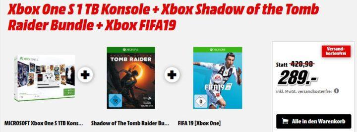 Xbox One S 1 TB + Shadow of the Tomb Raider + FIFA 19 für 289€ (statt 346€)   uvm. im Media Markt Feiertags Sale