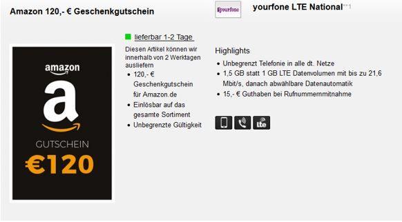 Knaller! Telefonica AllNet Flat + 1,5 GB LTE für 5,99€ mtl. dank 120€ Amazon Gutschein eff. 2,99€ mtl. ?