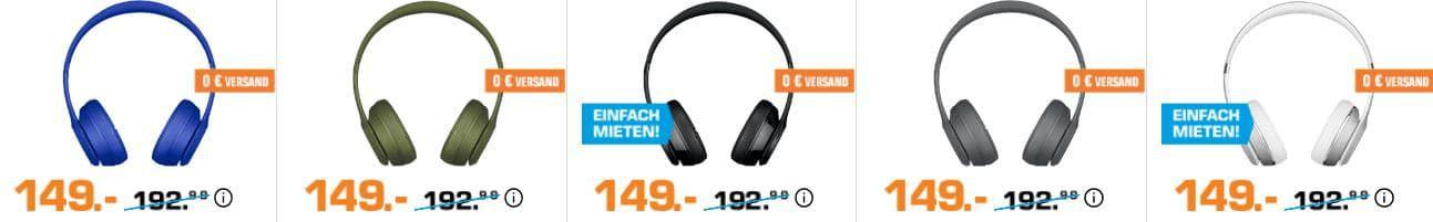 TOP! Beats By Dre Solo 3 Wireless On Ear Kopfhörer viele Farben für 149€ (statt 178€)