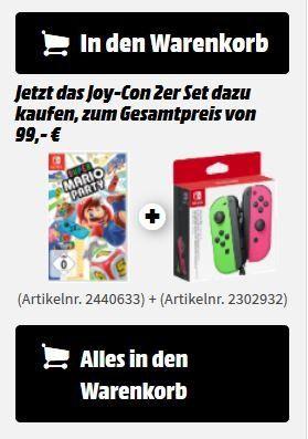 NINTENDO Switch Joy Con 2er Set + Super Mario Game Party ab 99€ (statt 126€)