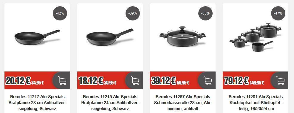 Berndes Topf & Pfannen Sale: z.B. Berndes Alu Specials Stielwok 28 cm Antihaftversiegelung für 22,12€ (statt 35€)
