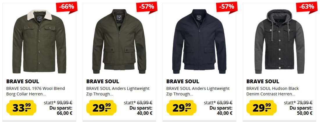 SportSpar Brave Soul Sale   z.B. BRAVE SOUL Herren Sweatshirt ab 6,99€ (statt 18€)