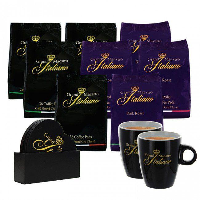 Grand Maestro Italiano Senseo Paket (288 Stck.) + 2 Tassen + Set Untersetzer 38€ inkl. VSK
