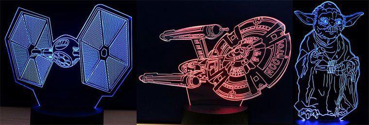 Versch. 3D LED Lampen Star Wars, Batman, Star Trek wie R2D2, Darth Vader etc ab 5,22€