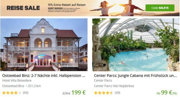 Groupon mit 15% Rabatt auf Reiseangebote