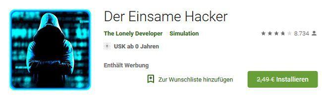 Gratis: Der einsame Hacker für Android (statt 2,49€)
