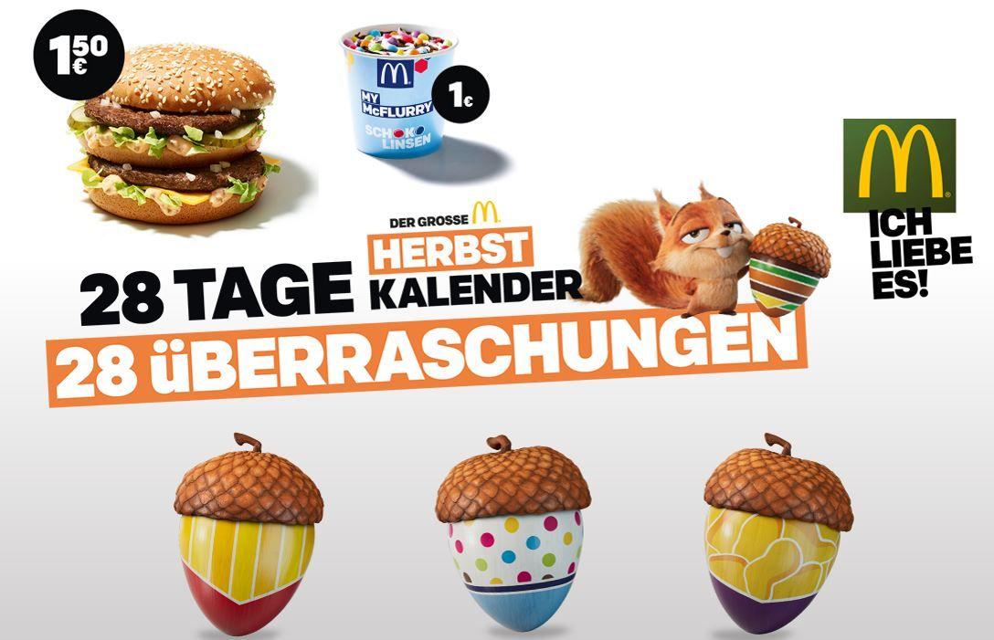 Info! McDonalds Herbst Kalender   heute mit der App: 20 Chicken McNugget für 4€