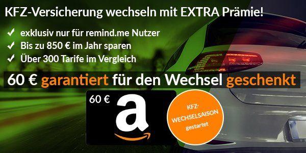 Kfz Versicherung über Verivox oder Tarifcheck wechseln (bis zu 850€ im Jahr sparen) + gratis 60€ Amazon Gutschein