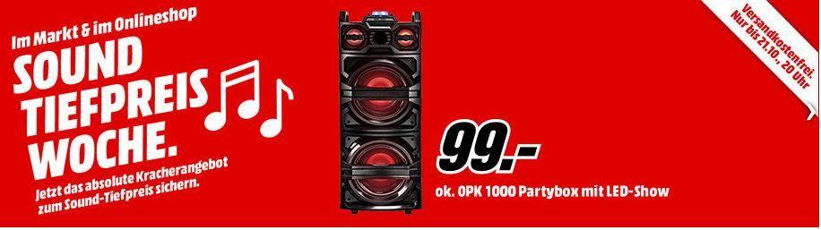 MM Sound Tiefpreiswoche: Bis 20 Uhr z.B. OK. OPK 1000 Partybox für 99€ (statt 129€)
